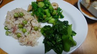 17晩御飯 豆ご飯桜塩漬け、こぶたかな、白菜菜花.jpg